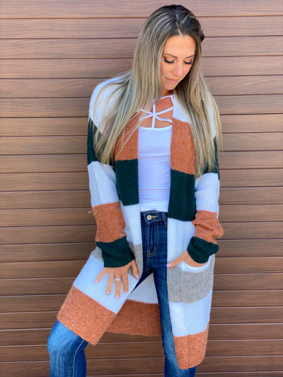 Woodland Color Block Sweater Cardigan