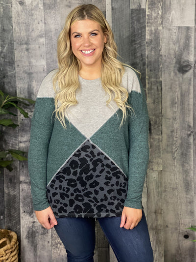 Brushed Colorblock Sweater Top