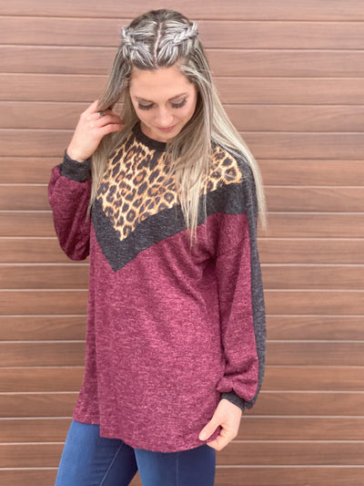Leopard and Burgundy V Line Light Weight Sweater