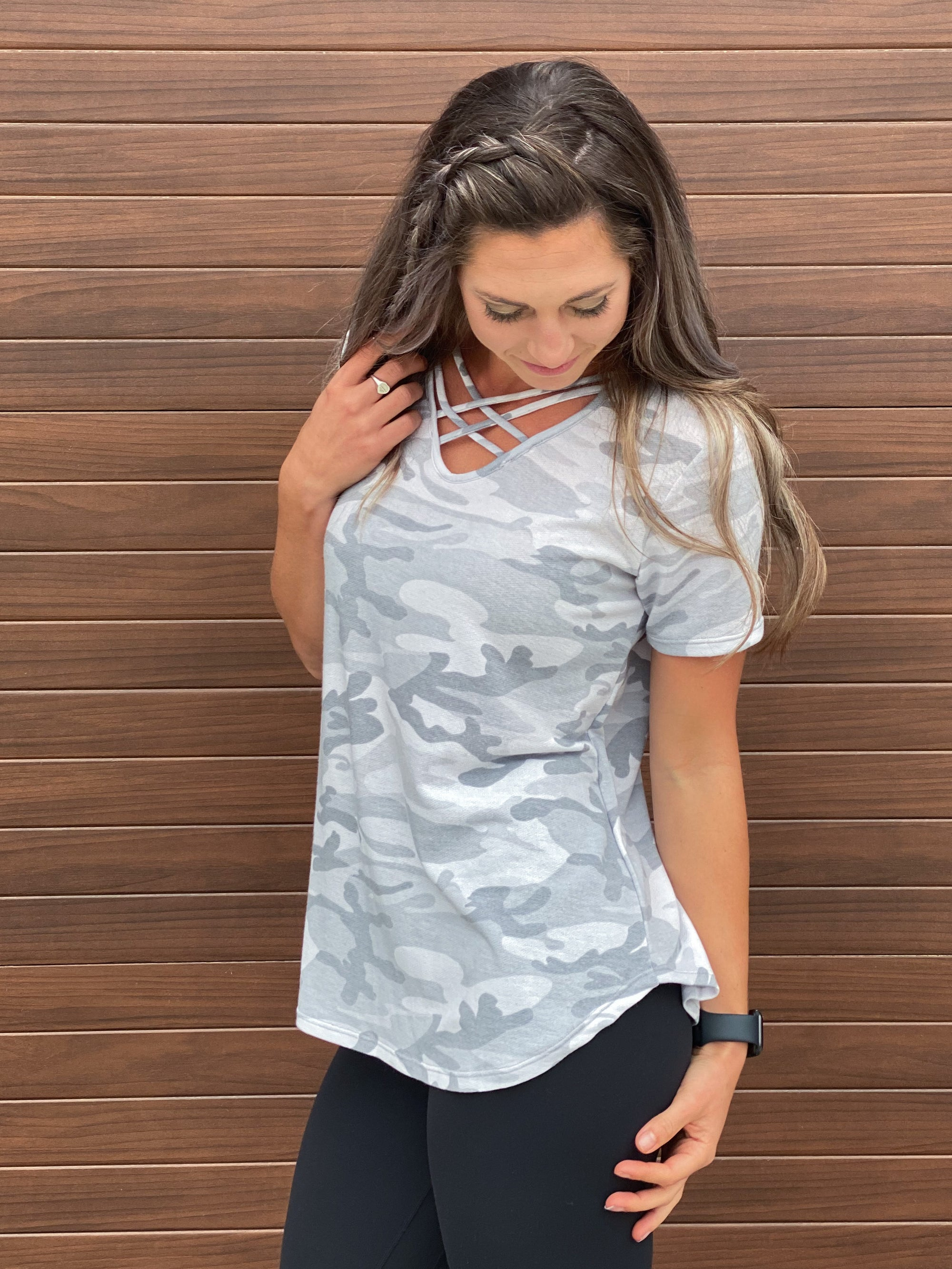 Grey Criss Cross Camo Tee