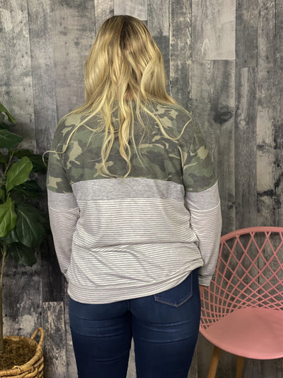 Camo Color Block Long Sleeve (1X - 3X)