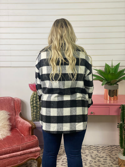 Plaid Shacket - Black and White