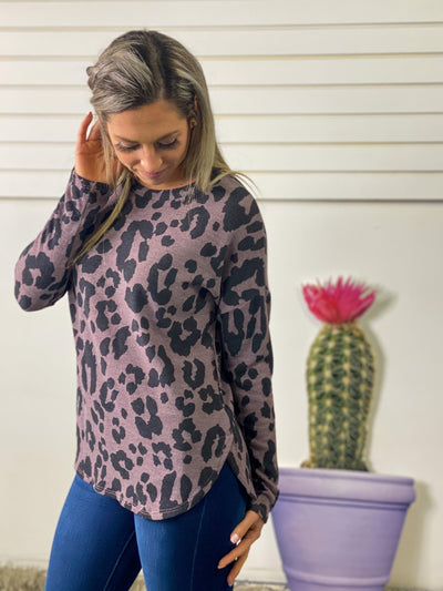 Soft Knit Leopard Tunic Top - Purple