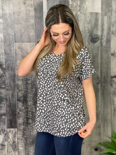 Grey Dalmatian Shift Tee