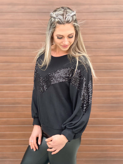 Glitz and Glam Sweater - Black