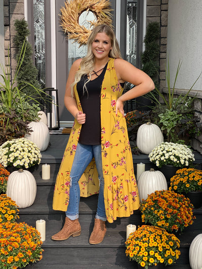 Yellow Floral Duster Vest with Ruffle Bottom