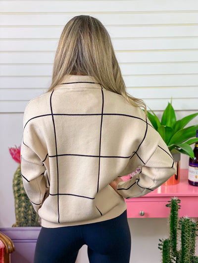 Pinterest Perfection Grid Sweater - Cream