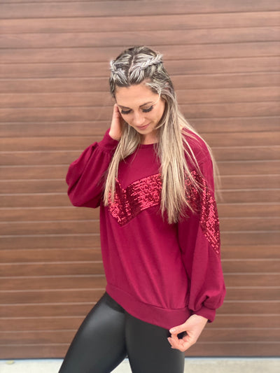 Glitz and Glam Sweater - Burgundy