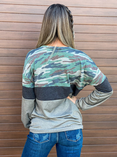 Camo Color Block Chocolate Sweatshirt (Small - 3X)
