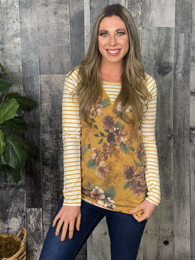 Mustard Floral Top with Striped sleeves and elbow patches
