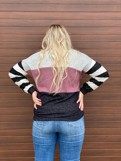 Mauve Color Block Sweater (1x - 3x)