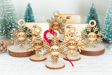 Load image into Gallery viewer, 6pk Snowflake Gift Tag and Christmas Ornament Collection wooden set with tags showing To and From