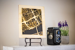 "100 Largest Cities in US Maps, 8x10"" Gift Size! Wooden Street Cutouts"