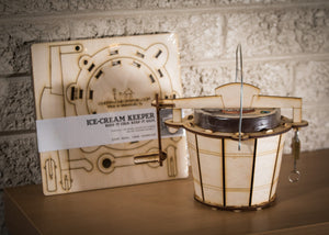 Ice Cream Keeper! A Wooden pint-size holder, Made to Look Like A Vintage Hand-Crank Ice Cream Maker