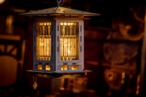 Bird Feeder, Craftsman Prairie Style Wooden 3D puzzle kit and lantern. DIY design you build!