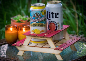 Beer Holder or Condiment Rack, A Mini Picnic Table 3D Kit. Useful Centerpiece and Coaster!