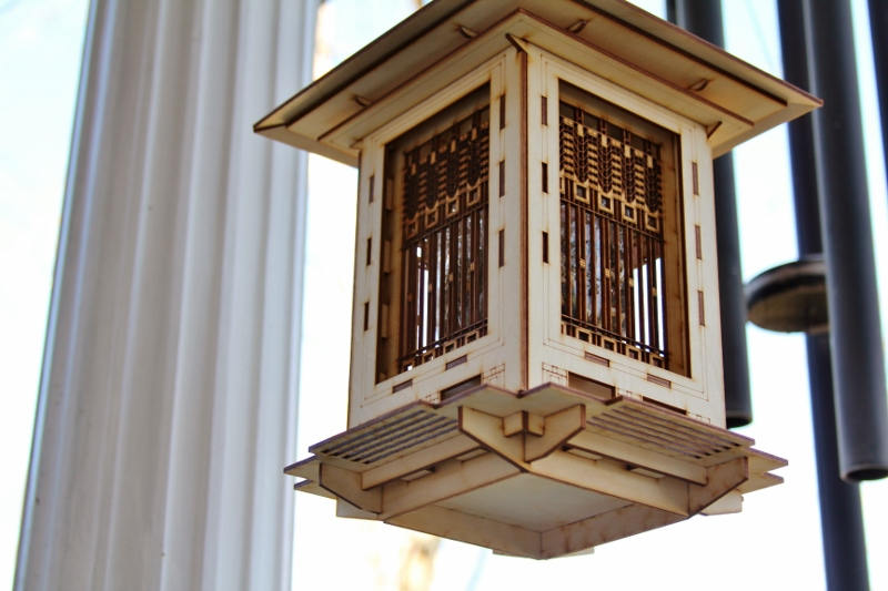 Bird Feeder, Craftsman Prairie Style Wooden 3D puzzle kit and lantern. DIY model you build!