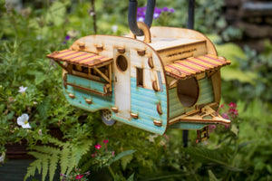 Vintage Camper Bird House Scale model playset you can build and use! Bring back the love of travel!