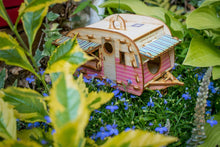 Load image into Gallery viewer, Vintage Camper Bird House Scale model playset you can build and use! Bring back the love of travel!