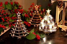 Load image into Gallery viewer, Christmas Tree Kit. Miniature Wooden desktop tree. 3D puzzle for the home or office.