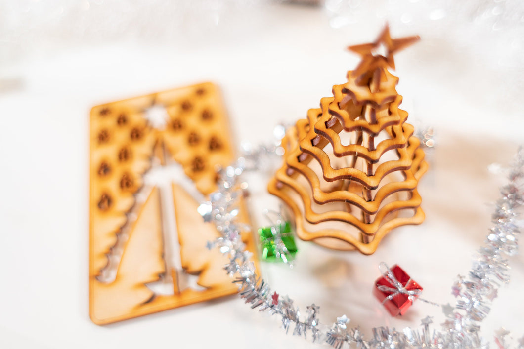 Christmas Tree Kit. Miniature Wooden desktop tree. 3D puzzle for the home or office.
