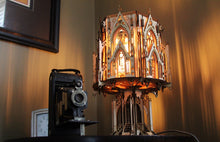 Load image into Gallery viewer, The Cathedral, Gothic Style Architecture, 3D Puzzle Wood Sculpture Lamp
