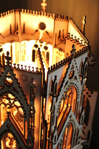 The Cathedral, Gothic Style Architecture, 3D Puzzle Wood Sculpture Lamp