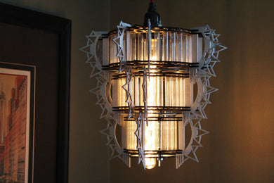 Art Deco Style 3D puzzle - Hanging Lamp Kit. Test tubes and lasercut wooden pieces build this model