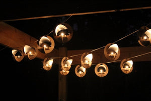Skyboats: Hanging Lantern String Lights.  Tealight Candle Lit kits with tin reflectors