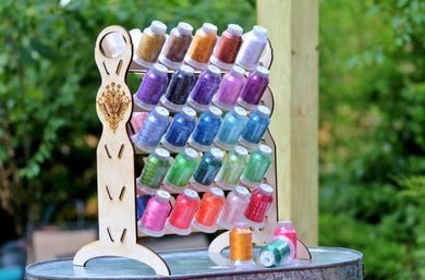Embroidery Thread Organizer, holds 50 spools vertically taking up little space on your table