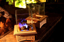 Load image into Gallery viewer, Tabletop Glass Fireplace, Warm up your patio, add some light, and even S'mores!