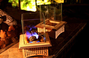 Tabletop Glass Fireplace, Warm up your patio, add some light, and even S'mores!