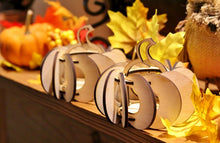 Load image into Gallery viewer, Fall Harvest Pumpkin Tea Lights. Individual kits, or String together for Outdoor Party Lights.