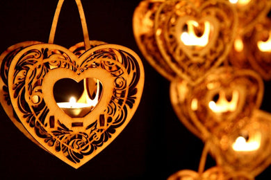 Heartstrings, Hanging Tealight Luminaire kits. Natural wood model kit you snap together!