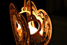 Load image into Gallery viewer, Heartstrings, Hanging Tealight Luminaire kits. Natural wood model kit you snap together!