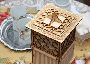 The Carlyle: Tea Box And Cookie Jar. A Functional Centerpiece And Tea Party Essential! 3D Puzzle Kit