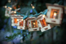 Load image into Gallery viewer, Patio String Lights. Electrolites - Craftsman Style Bungalows. DIY Unique wooden 3D lighting