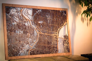 "City Maps, Large 24x36"" Perfect Housewarming Gift! Wooden Street Cutouts"