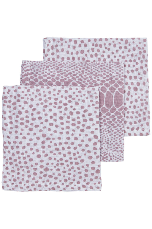 Meyco Face Cloths 3τμχ 30x30 cm Snake/Cheetah Lilac