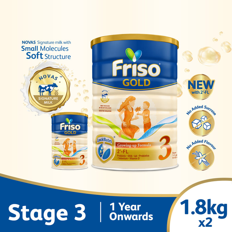 Friso Gold 3 Growing Up Milk with 2'-FL 1.8kg for Toddler 1+ years Milk Powder (Bundle of 2)