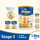 Friso Gold 3 Growing Up Milk with 2'-FL 1.8kg for Toddler 1+ years Milk Powder (Bundle of 3)