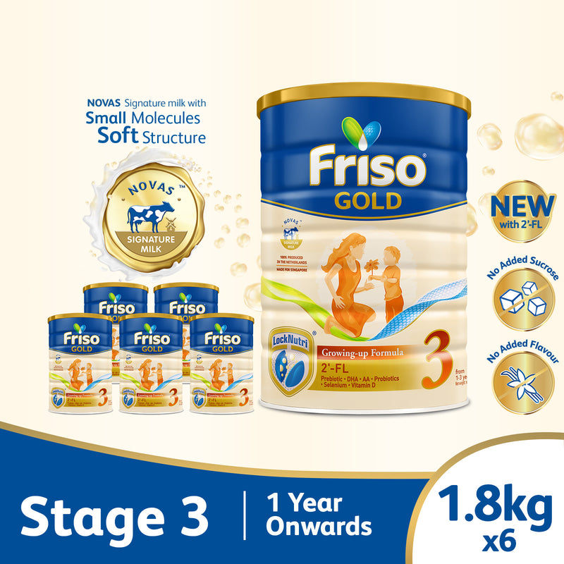Friso Gold 3 Growing Up Milk with 2'-FL 1.8kg for Toddler 1+ years Milk Powder (Bundle of 6)