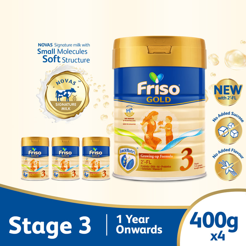 Friso Gold 3 Growing Up Milk with 2'-FL 400g for Toddler 1+ years Milk Powder (Bundle of 4)