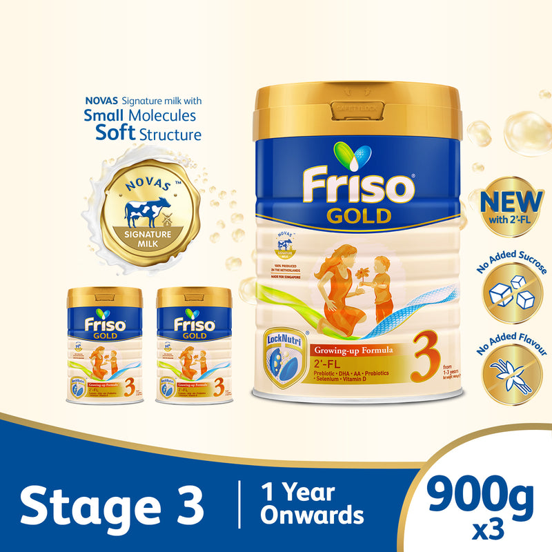 Friso Gold 3 Growing Up Milk with 2'-FL 900g for Toddler 1+ years Milk Powder (Bundle of 3)