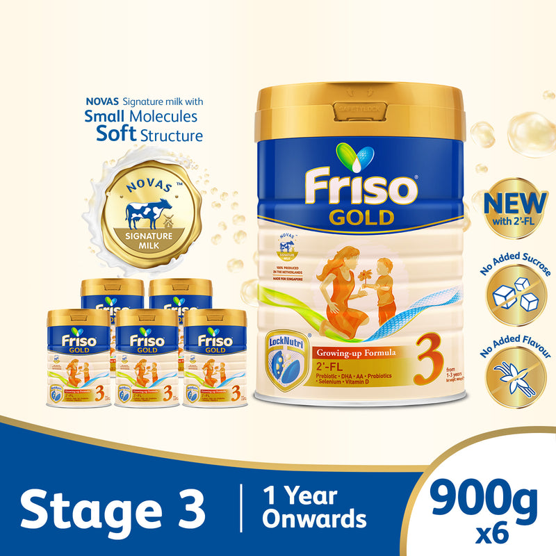 Friso Gold 3 Growing Up Milk with 2'-FL 900g for Toddler 1+ years Milk Powder (Bundle of 6)