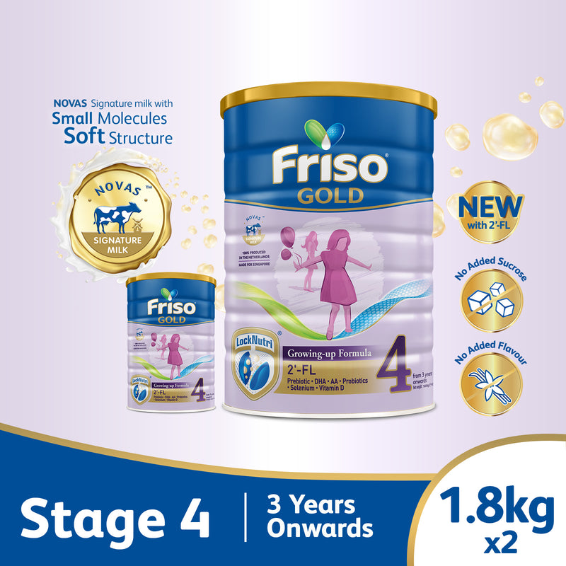 Friso Gold 4 Growing Up Milk with 2'-FL 1.8kg for Toddler 3+ years Milk Powder (Bundle of 2)