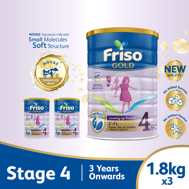 Friso Gold 4 Growing Up Milk with 2'-FL 1.8kg for Toddler 3+ years Milk Powder (Bundle of 3)