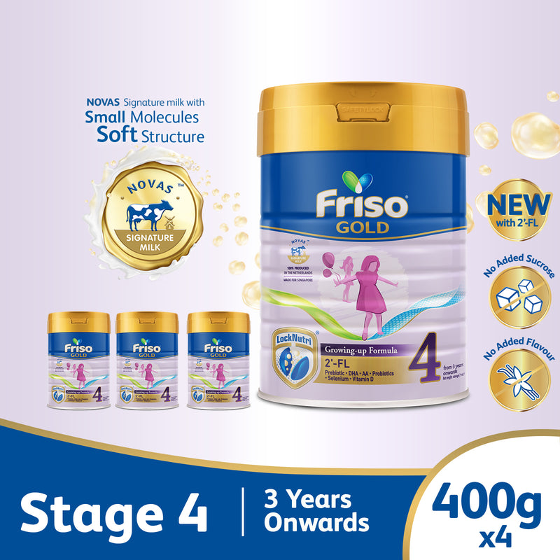 Friso Gold 4 Growing Up Milk with 2'-FL 400g for Toddler 3+ years Milk Powder (Bundle of 4)