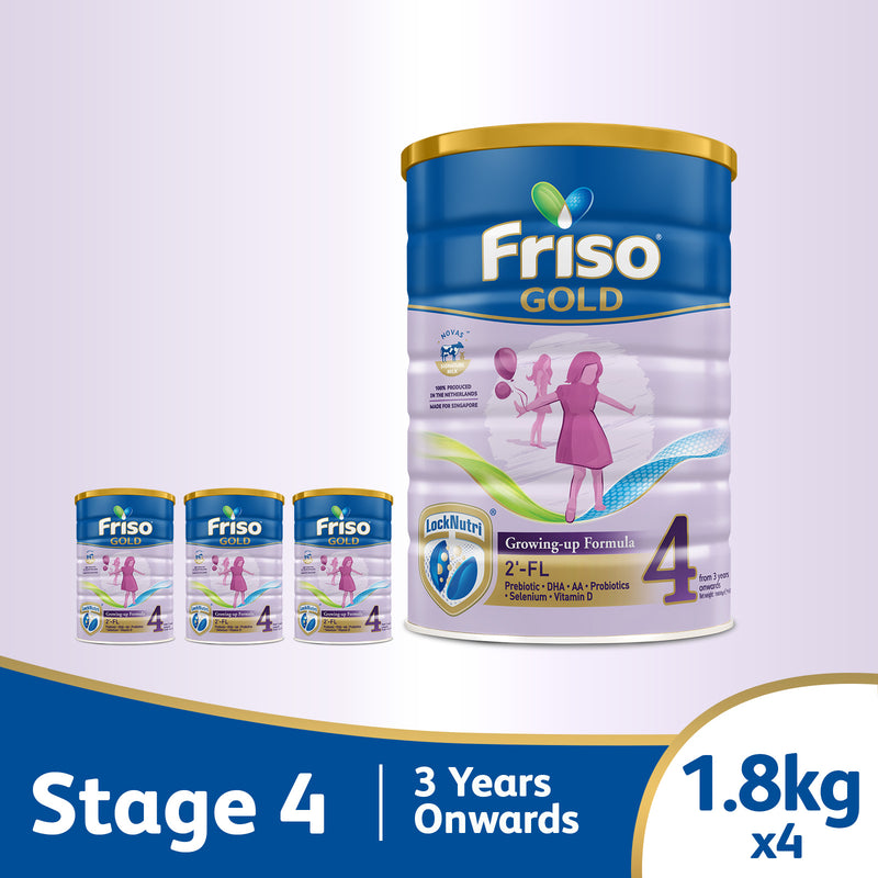 Friso Gold 4 Growing Up Milk with 2'-FL 1.8kg for Toddler 3+ years Milk Powder (Bundle of 4)