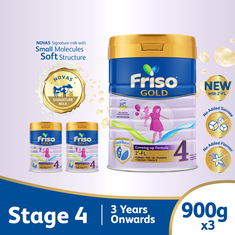 Friso Gold 4 Growing Up Milk with 2'-FL 900g for Toddler 3+ years Milk Powder  (Bundle of 3)